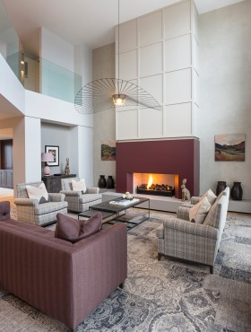 Interior design of a modern living room with fireplace